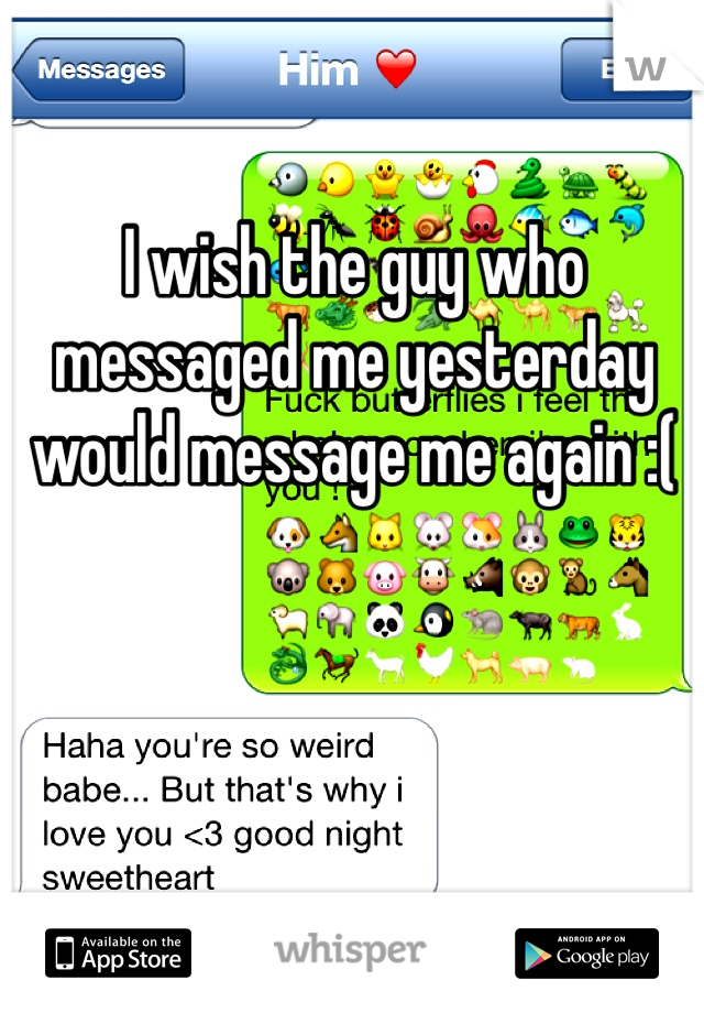 I wish the guy who messaged me yesterday would message me again :(