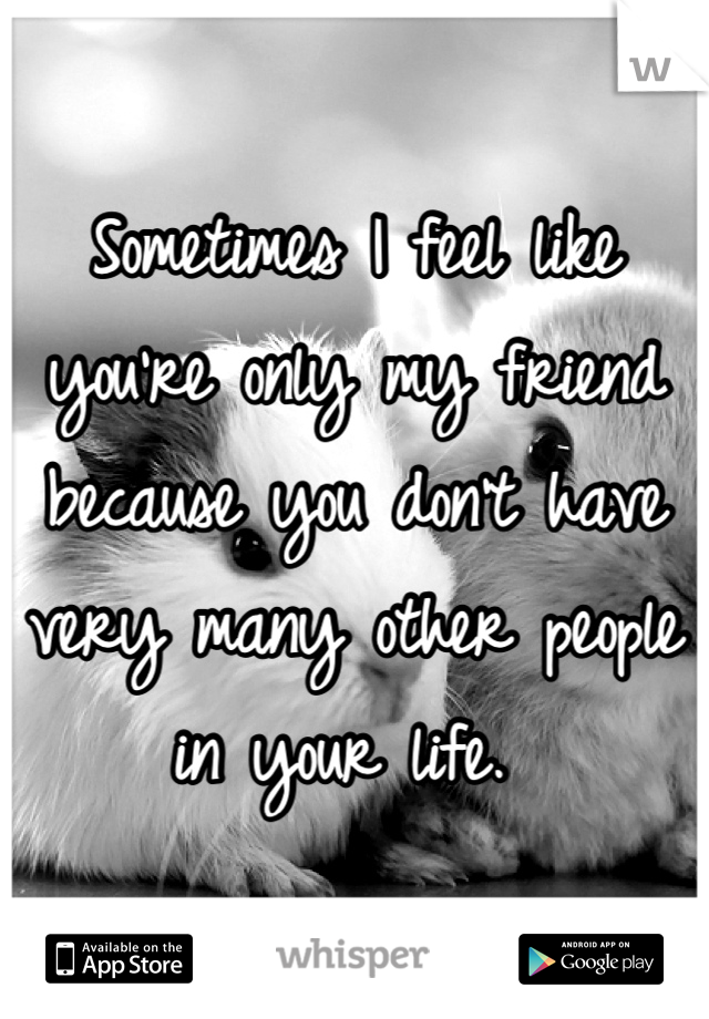 Sometimes I feel like you're only my friend because you don't have very many other people in your life.
