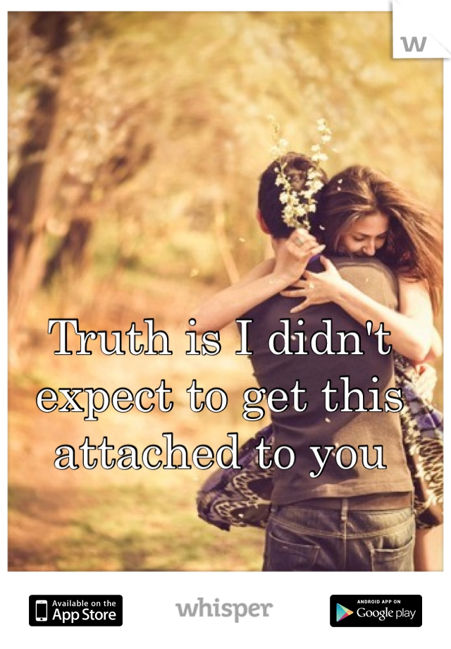 Truth is I didn't expect to get this attached to you
