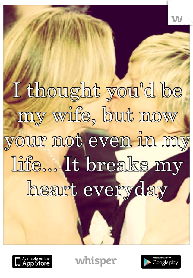 I thought you'd be my wife, but now your not even in my life... It breaks my heart everyday