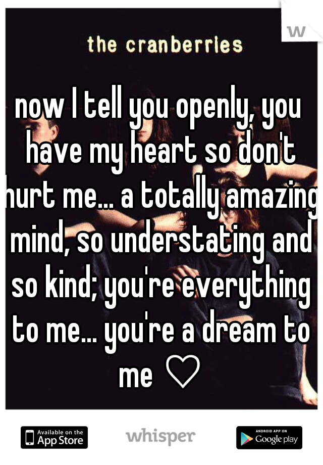 now I tell you openly, you have my heart so don't hurt me... a totally amazing mind, so understating and so kind; you're everything to me... you're a dream to me ♡
