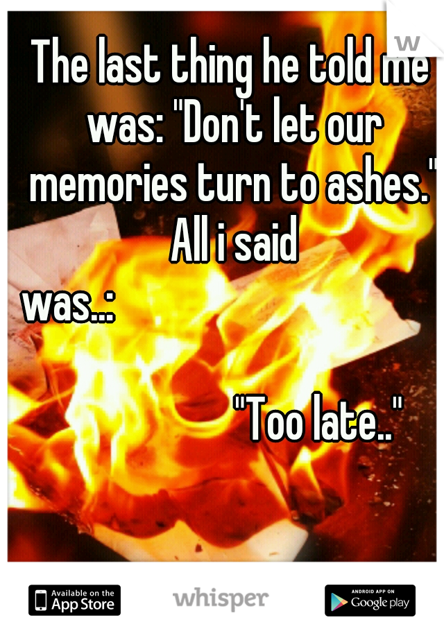 """The last thing he told me was: """"Don't let our memories turn to ashes."""" All i said was..:                                           """"Too late.."""""""