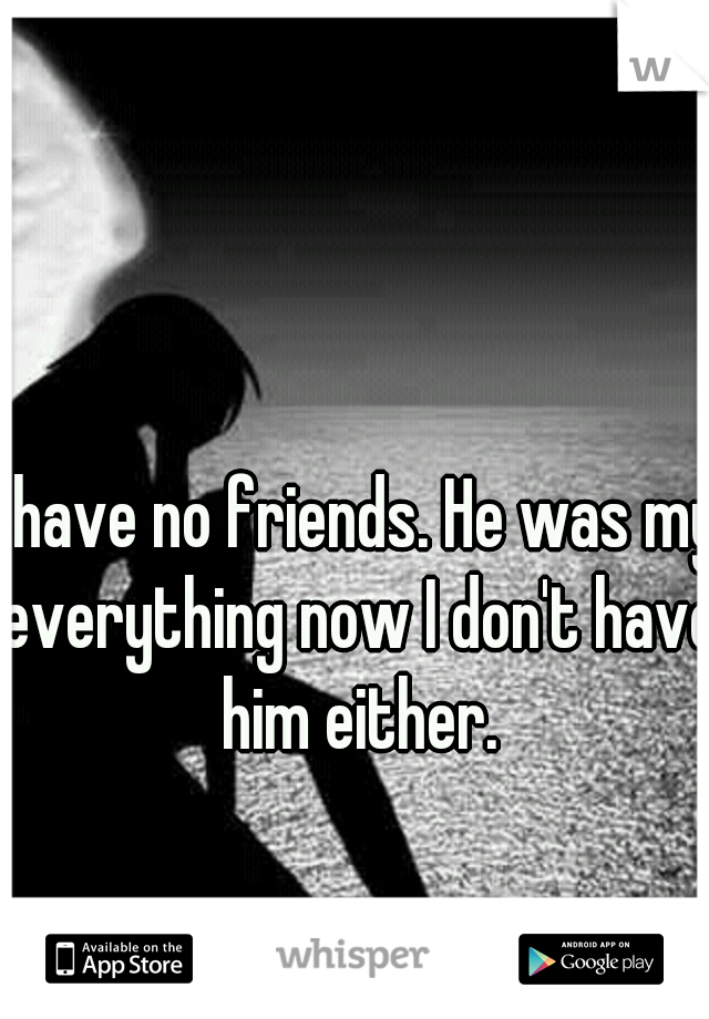 I have no friends. He was my everything now I don't have him either.