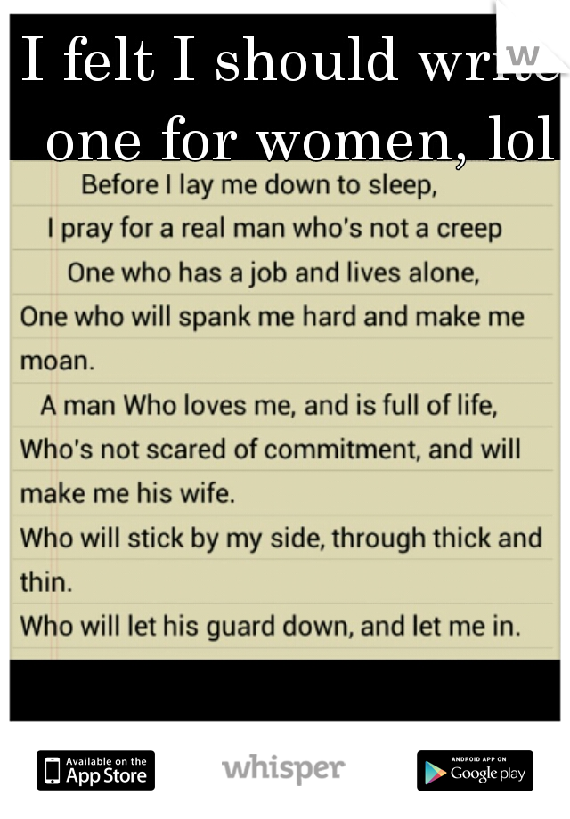 I felt I should write one for women, lol