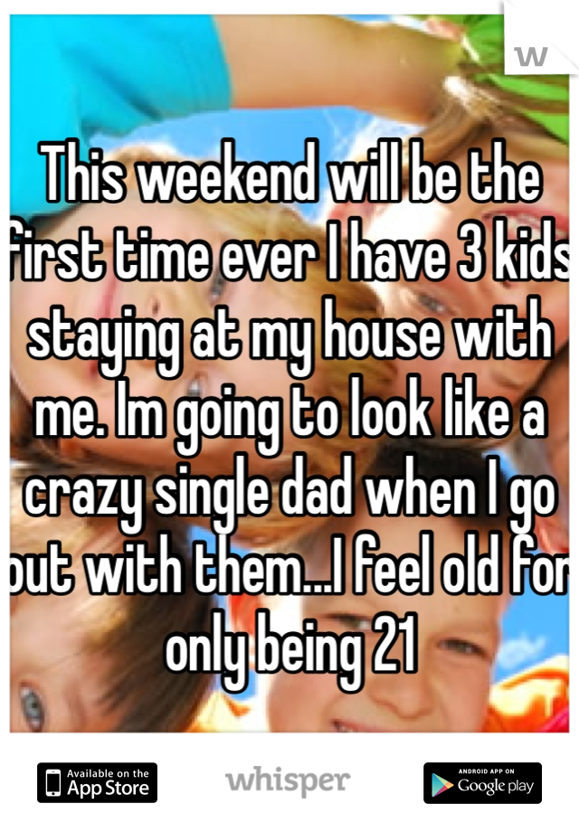 This weekend will be the first time ever I have 3 kids staying at my house with me. Im going to look like a crazy single dad when I go out with them...I feel old for only being 21