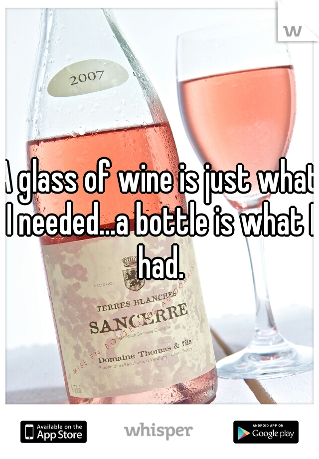 A glass of wine is just what I needed...a bottle is what I had.