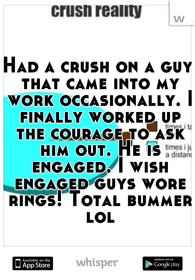 Had a crush on a guy that came into my work occasionally. I finally worked up the courage to ask him out. He is engaged. I wish engaged guys wore rings! Total bummer lol
