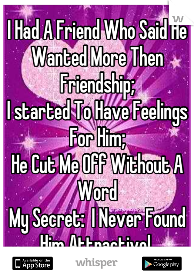 I Had A Friend Who Said He Wanted More Then Friendship;  I started To Have Feelings For Him; He Cut Me Off Without A Word My Secret:  I Never Found Him Attractive!