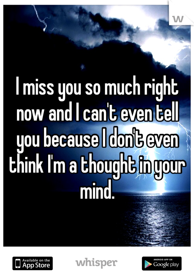 I miss you so much right now and I can't even tell you because I don't even think I'm a thought in your mind.