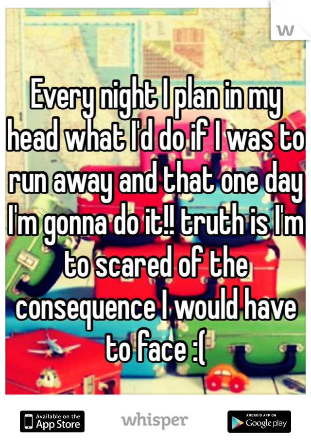 Every night I plan in my head what I'd do if I was to run away and that one day I'm gonna do it!! truth is I'm to scared of the consequence I would have to face :(