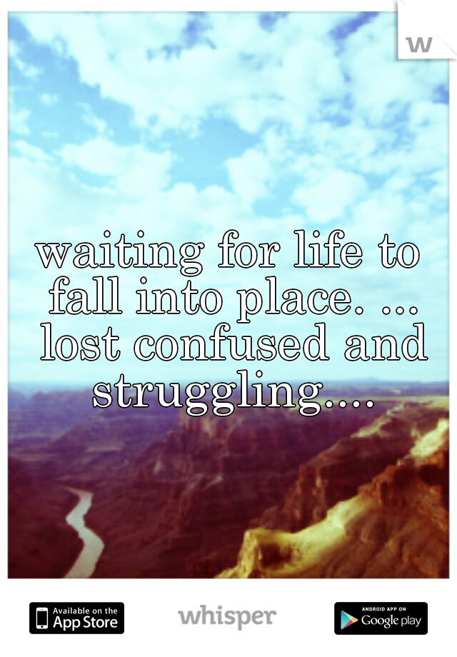 waiting for life to fall into place. ... lost confused and struggling....