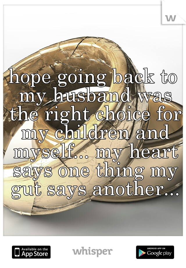 hope going back to my husband was the right choice for my children and myself... my heart says one thing my gut says another...