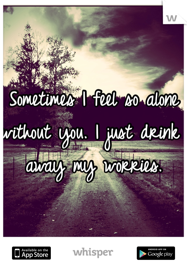 Sometimes I feel so alone without you. I just drink away my worries.