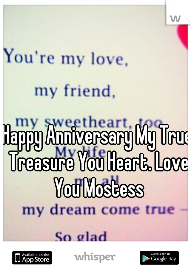 Happy Anniversary My True Treasure You Heart. Love You Mostess