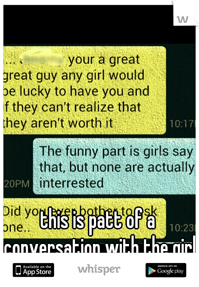 this is patt of a conversation with the girl I love, is this a hint or not?