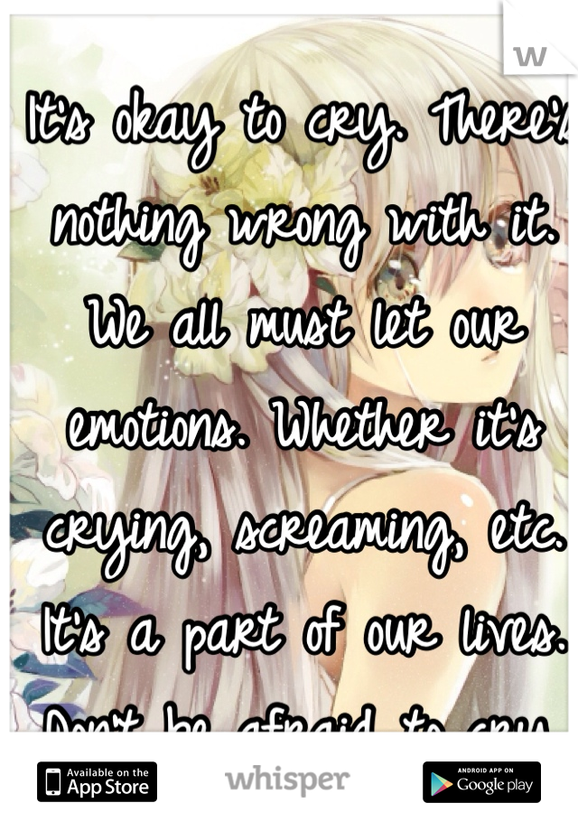 It's okay to cry. There's nothing wrong with it. We all must let our emotions. Whether it's crying, screaming, etc. It's a part of our lives. Don't be afraid to cry.