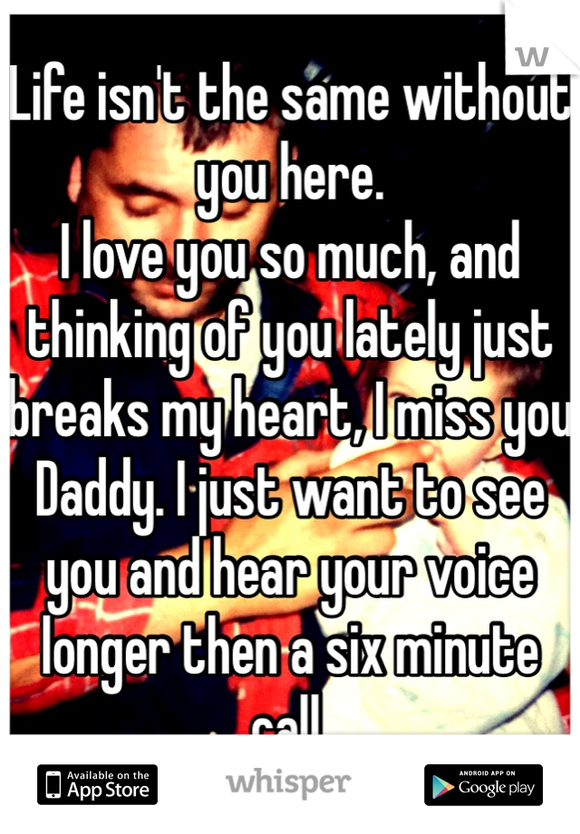Life isn't the same without you here. I love you so much, and thinking of you lately just breaks my heart, I miss you  Daddy. I just want to see you and hear your voice longer then a six minute call.