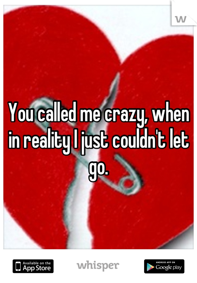 You called me crazy, when in reality I just couldn't let go.