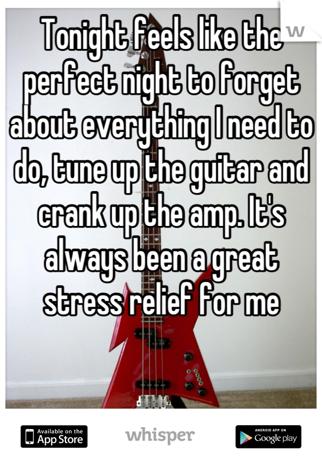 Tonight feels like the perfect night to forget about everything I need to do, tune up the guitar and crank up the amp. It's always been a great stress relief for me