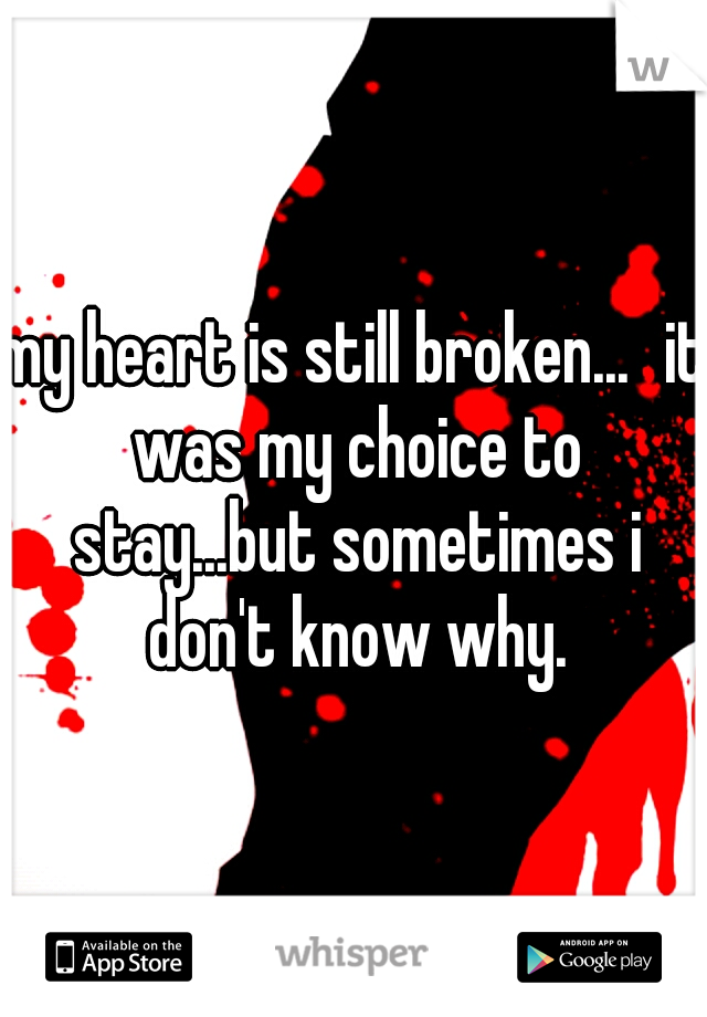 my heart is still broken... it was my choice to stay...but sometimes i don't know why.