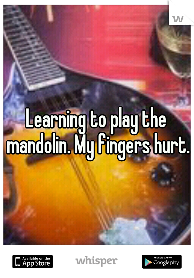 Learning to play the mandolin. My fingers hurt.
