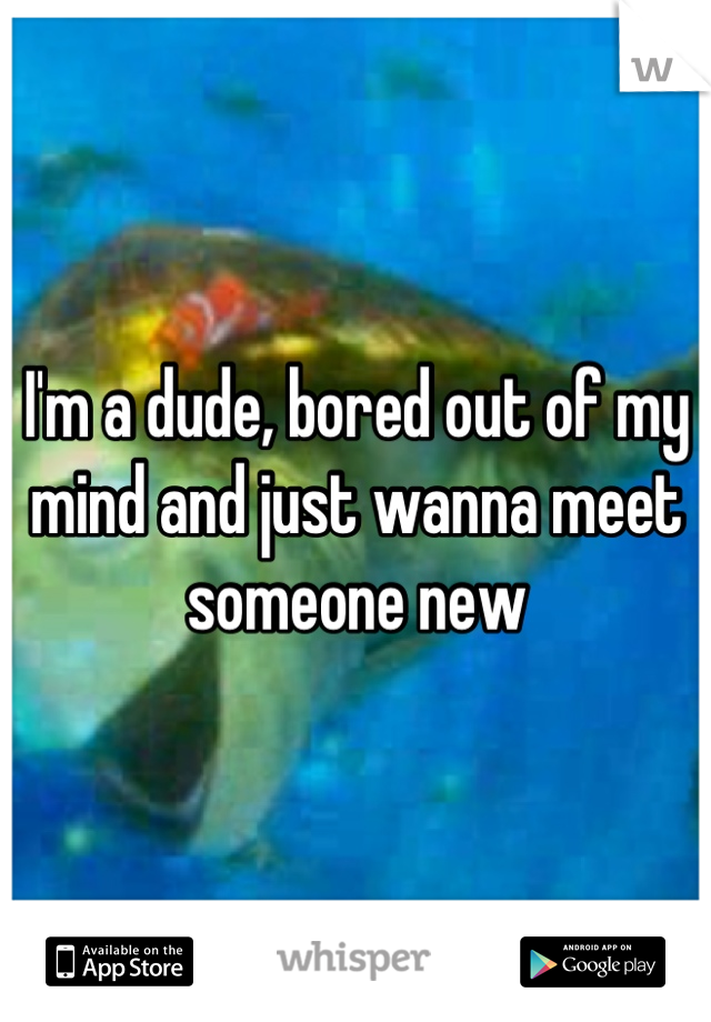 I'm a dude, bored out of my mind and just wanna meet someone new