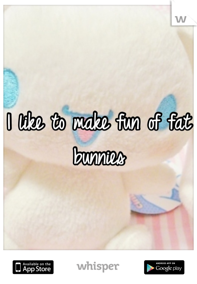 I like to make fun of fat bunnies