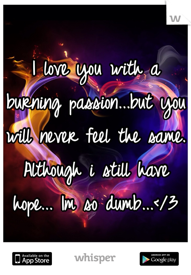 I love you with a burning passion...but you will never feel the same. Although i still have hope... Im so dumb...</3