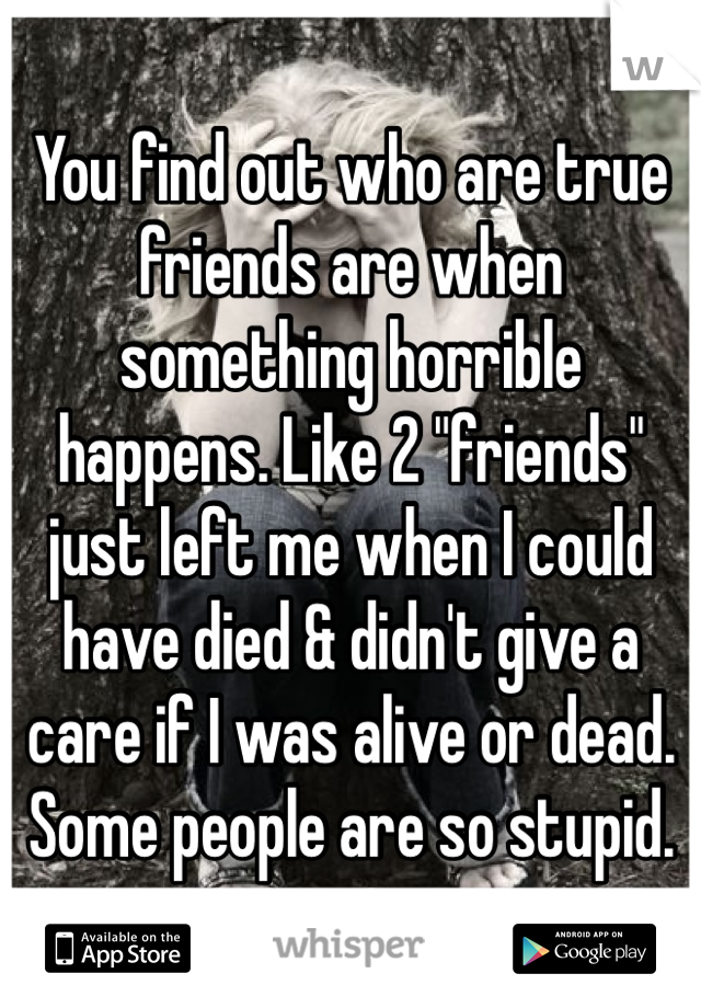 "You find out who are true friends are when something horrible happens. Like 2 ""friends"" just left me when I could have died & didn't give a care if I was alive or dead. Some people are so stupid."