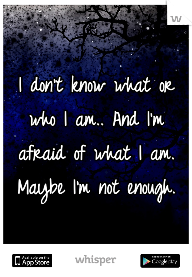 I don't know what or who I am.. And I'm afraid of what I am. Maybe I'm not enough.