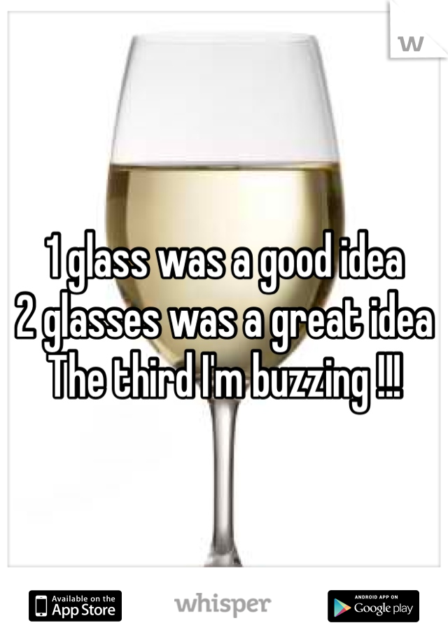 1 glass was a good idea  2 glasses was a great idea  The third I'm buzzing !!!