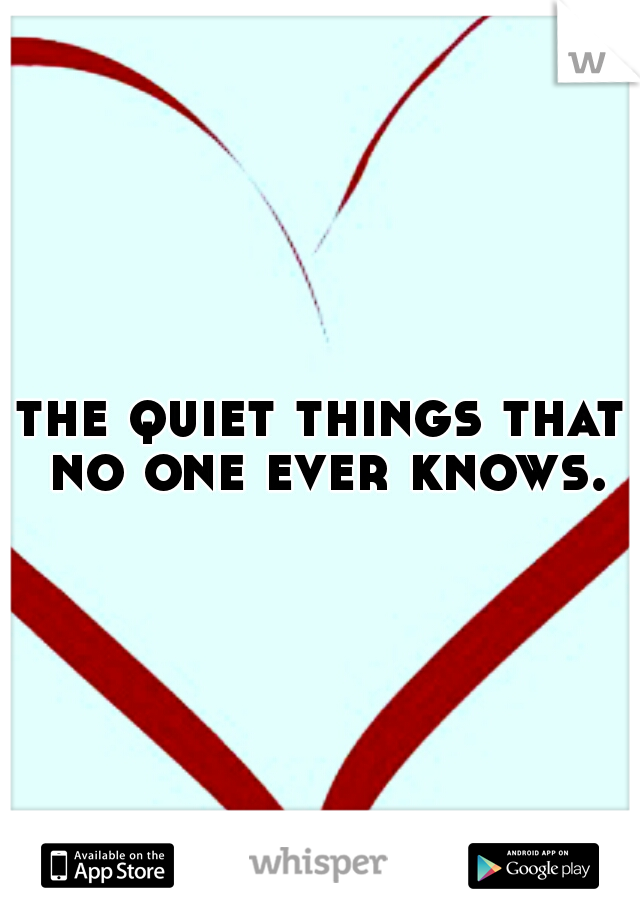 the quiet things that no one ever knows.