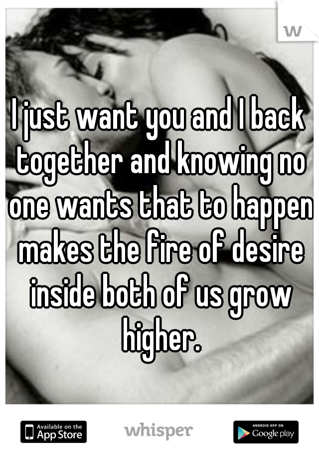 I just want you and I back together and knowing no one wants that to happen makes the fire of desire inside both of us grow higher.