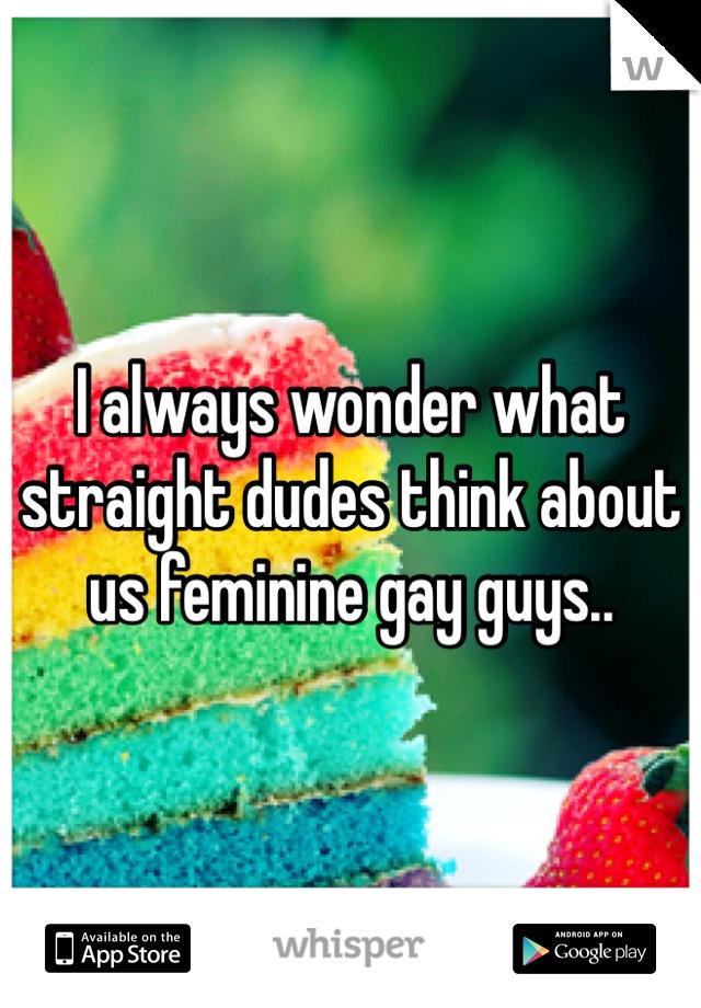 I always wonder what straight dudes think about us feminine gay guys..