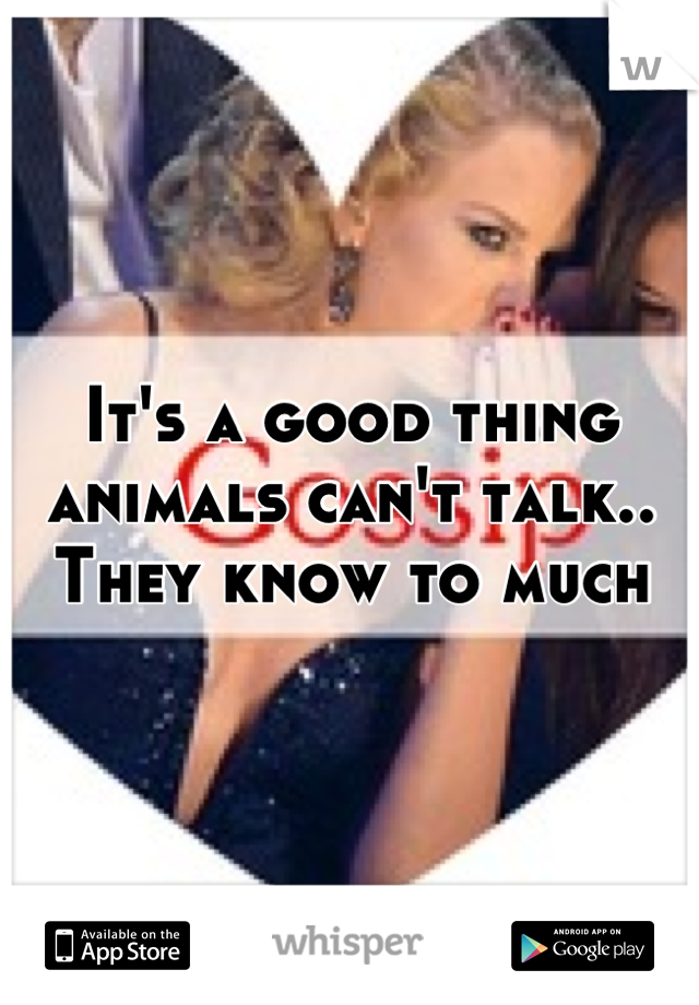 It's a good thing animals can't talk.. They know to much
