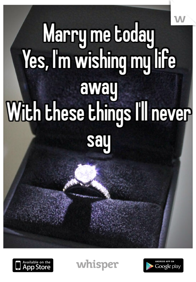 Marry me today Yes, I'm wishing my life away  With these things I'll never say