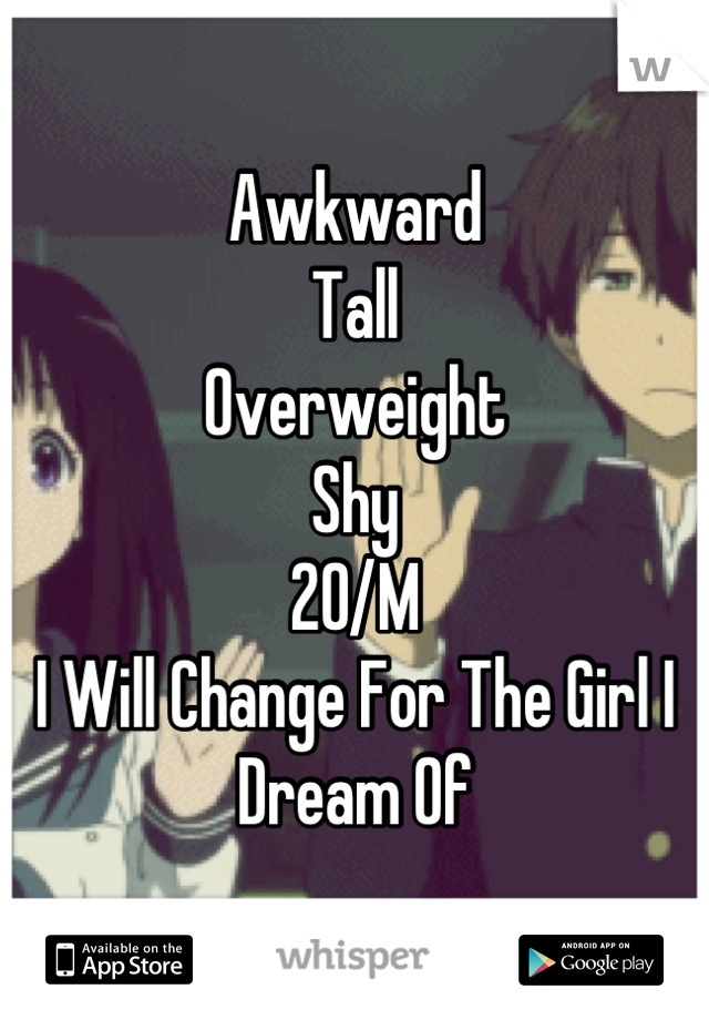 Awkward  Tall  Overweight  Shy 20/M I Will Change For The Girl I Dream Of