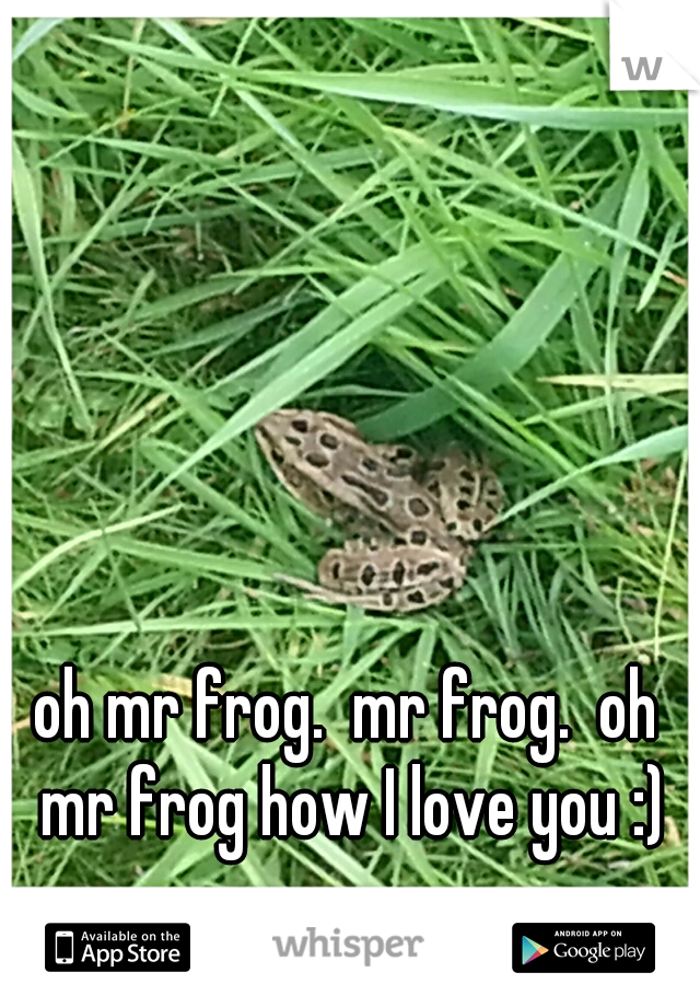 oh mr frog.  mr frog.  oh mr frog how I love you :)