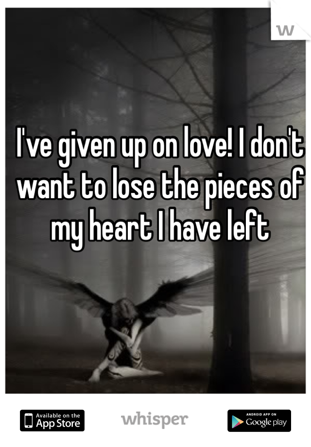 I've given up on love! I don't want to lose the pieces of my heart I have left