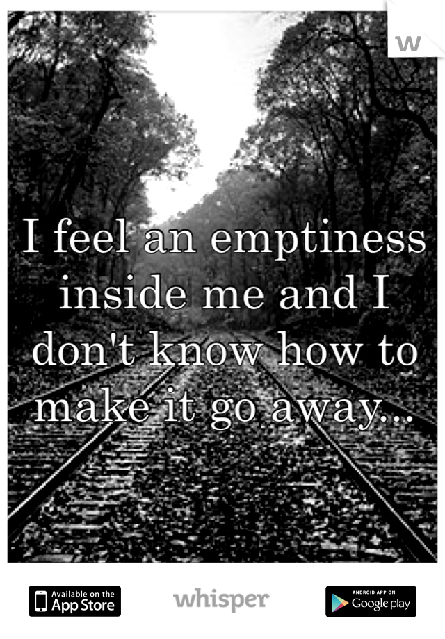 I feel an emptiness inside me and I don't know how to make it go away...