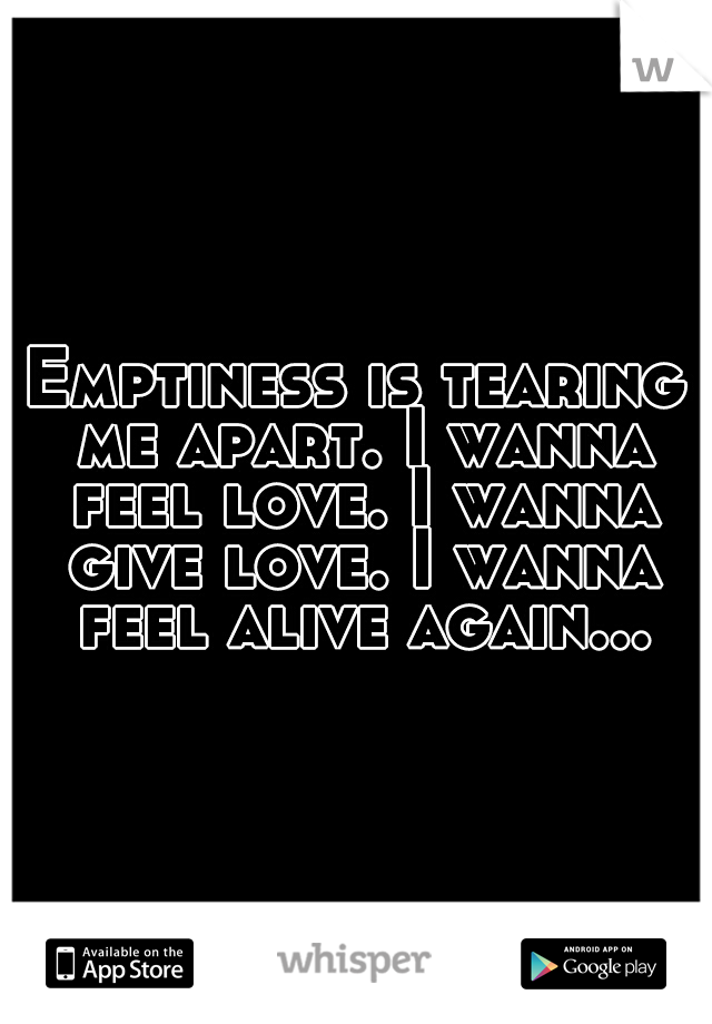 Emptiness is tearing me apart. I wanna feel love. I wanna give love. I wanna feel alive again...