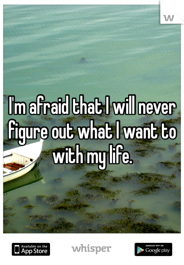 I'm afraid that I will never figure out what I want to with my life.