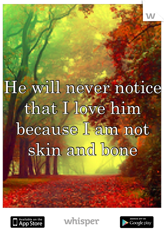 He will never notice that I love him because I am not skin and bone