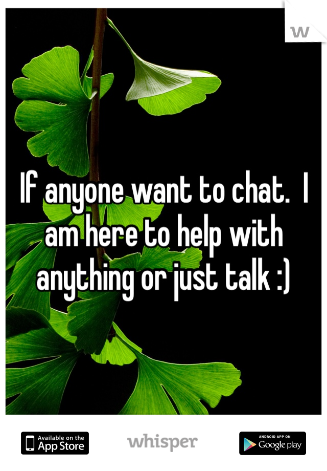 If anyone want to chat.  I am here to help with anything or just talk :)