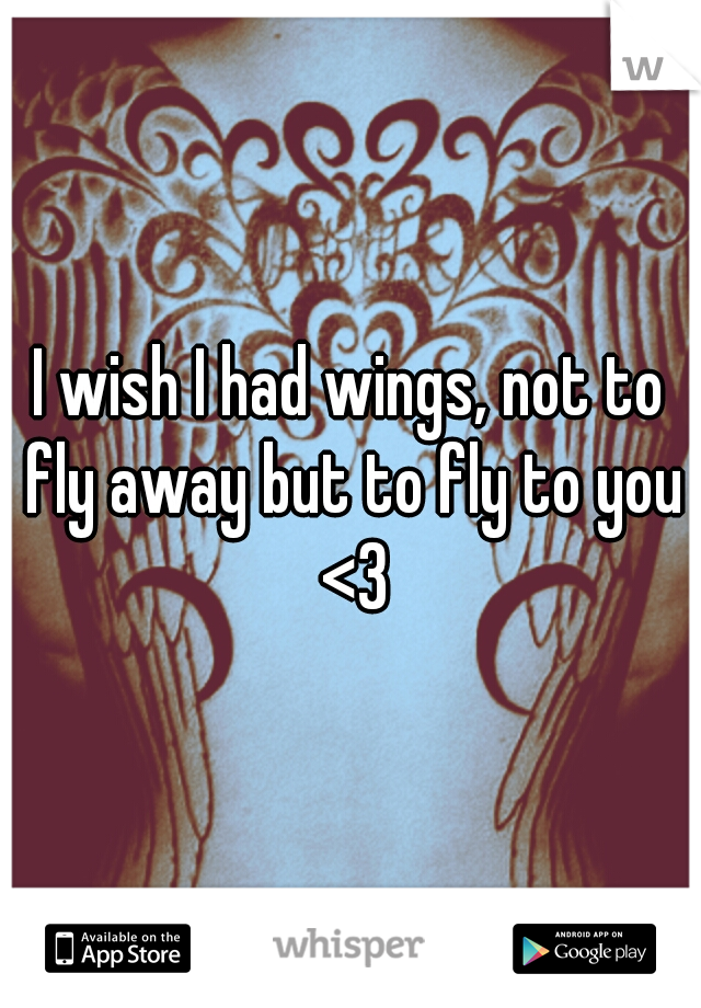 I wish I had wings, not to fly away but to fly to you <3