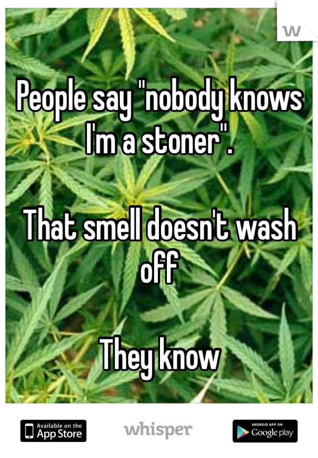 """People say """"nobody knows I'm a stoner"""".  That smell doesn't wash off  They know"""