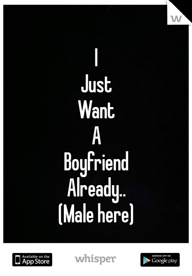 I  Just Want A Boyfriend  Already..  (Male here)