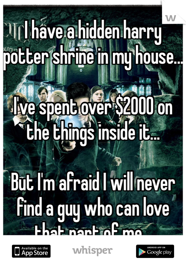 I have a hidden harry potter shrine in my house...  I've spent over $2000 on the things inside it...   But I'm afraid I will never find a guy who can love that part of me...