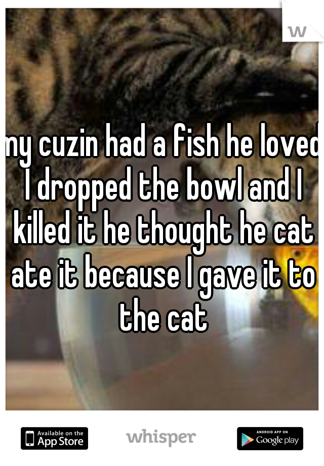my cuzin had a fish he loved I dropped the bowl and I killed it he thought he cat ate it because I gave it to the cat