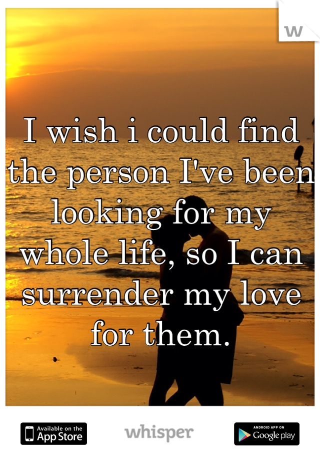 I wish i could find the person I've been looking for my whole life, so I can surrender my love for them.